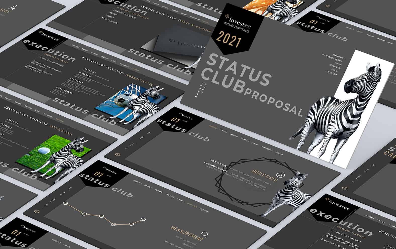 Proposal Presentation Design for Investec Status Club
